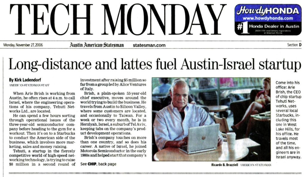 Arie Brish-Featured in Austin American Statesman news article interview
